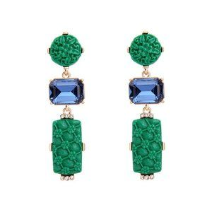 Emerald Green and Blue Statement Earrings
